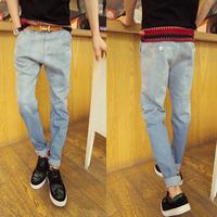 2013 autumn and winter light gradient color jeans trousers male harem pants slim skinny pants