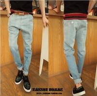 Autumn vintage light gradient color jeans male harem pants slim skinny pants trousers