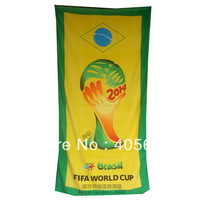 New Soccer World Cup Badge Beach Towel For 2014 Brazil World Cup Cotton Soft Large Bath Towel Big Trophy Badge