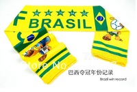 New World Cup Mascot Badge Scarf For 2014 Brazil World Cup Soft Long Cheering Scarf Big Letter Brazil Win Record