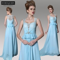 DORISQUEEN ready to wear fast ship free shipping a line floor length lace pleat blue ruffle evening dresses