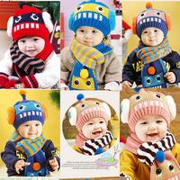 Girls Boys Baby Thicken Warm Winter Robot Cartoon Cap Kids Hat+Scarf Sets Beanie Free Drop Shipping