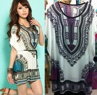 2014 new fashion summer autumn women Hot sell Ethnic milk silk Plus Size dress Elegant Vintage dress