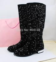 50% OFF Fashion nubuck leather low heel winter Fall Knight Mid-calf round Toe crystal rhinestone women Boots size 35-40