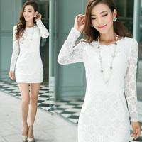 New 2014 winter autumn dress white lace dress women plus size hollow crochet slim long sleeved casual dress Korea vestidos