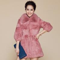 EMS Free shipping 2014 new women's sweet fashion medium-long rabbit fur patchwork real rabbit fur coat Fox fur collar (M--XXXXL)