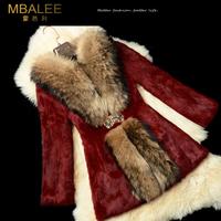 EMS Free shipping 2014 new women's fur ultralarge raccoon fur female slim medium-long long-sleeve real rabbit fur coat (M-XXXL)