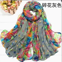 Min Order 10 USD,10 colors! Fashion Women Girl Flower Print Chiffon Spring Autumn Shawl Scarf Scarves Wholesale 110X180 cm