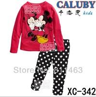 2014 new arrival children girls minnie mickey mouse long sleeve pajamas # XC-342 / kids clothing set / baby sleepwear