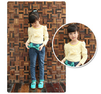 children pants bow green girls jeans wholesale 6pcs/lot 100-160cm kids pants new 2013  high quality children's jeans