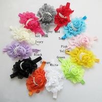 Pearl roses Baby Flower Headband Litte Girl hairbands Infant Headband Baby Girl Bow Newborn hair accessories 12 pcs/lot