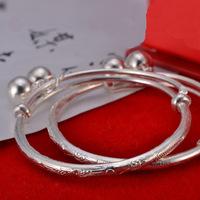 Genuine 999 S999 Fine Sterling Silver Babies' Ritual Dragon&Phonex  Adjustable Bangle Kid's Birthday Gift Cuff Jewelry