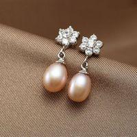 2015 New Brand Natural 100% Freshwater Pearl Genuine Floewr Vintage Noble Handwork Jewelry Earrings#PE009