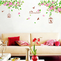 Free shipping modern wall art home decoration removable wall stickers flower vine birds lovely life wall decals WS76
