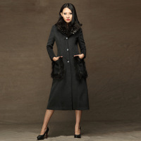 2013 winter slim woolen outerwear ultra long woolen overcoat raccoon large fur collar cashmere trench
