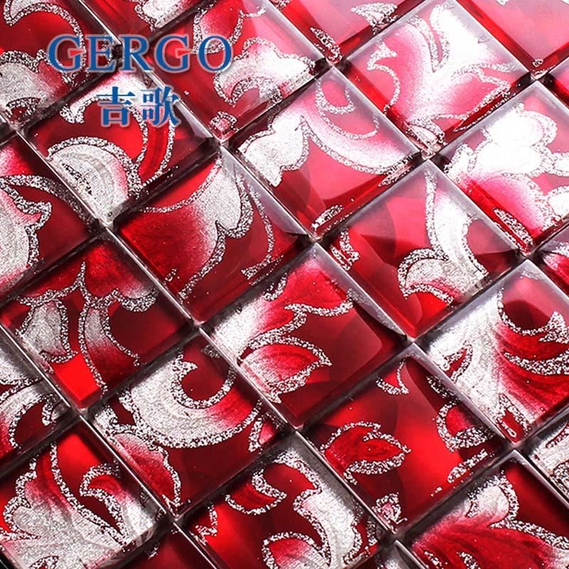Online kopen wholesale rood glas moza ek tegel uit china rood glas moza ek tegel groothandel - Rode mozaiek tegel ...