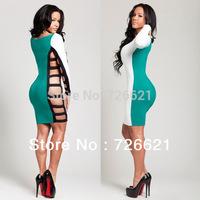 2014 New Fashion Sexy Blue Black White Long Sleeve Sexy Women Party Bandage Dress O-neck Bodycon Dresses Size S M L