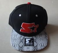 Hiphop Starter Snapback hats & caps black snakeskin most popular men & women classic adjustable strapback cap freeshiping  !
