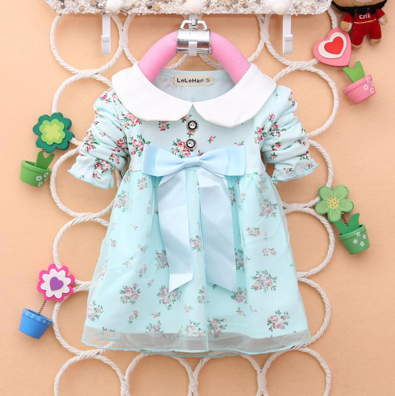 2014 new free shipping fashion cotton lace bow floral kids baby girls children dresses spring autumn clothing fits 0-3 years(China (Mainland))