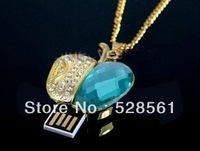 Blue Crystal Necklace 1GB/2GB/4GB/8GB/16GB/32GB/64GB USB Flash Drive With Free Shipping