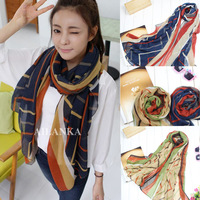 Bls150 2013 stripe scarf color block scarf cape scarf
