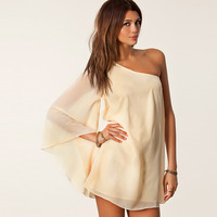 2014 new arrival Oblique Long sleeve Strapless Halter Loose Chiffon Mini Cream-colored Beach dress