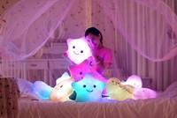 Free Shipping  40cm*35cm  Flash LED Light Pillow Colorful Star Stuffed Plush Cushion For Birthday Gift