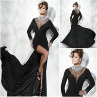 E0252 Sexy sheer straps crystal beaded long sleeves floor length evening dresses