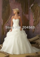 Free Shipping High Quality  A Line Organza  Wedding Dresses with Beads Custom size/color wholesale/retail