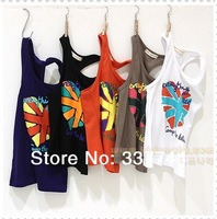 2014 summer child tank heart boys girls clothing baby vest children's clothing 5size Optional free shipping 100% cotton T-shirt