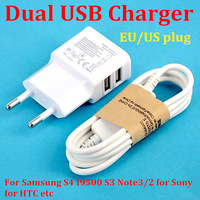 5V 2A Dual USB Travel Charger 2 Ports EU Plug Wall Adapter + Micro USB Data Cable for Samsung Galaxy S3 S4 I9300 I9500 Note 2 3