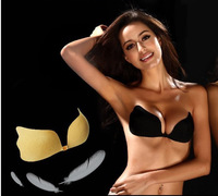 2014 New Lady  Strapless Backless Invisible Self-Adhesive Bra Pad Push UP Nude A B C Cup W5111