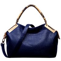 HOT Crocodile Grain High-Quality Ladies' Fashion PU Leather Leisure Obique Totes/Shoulder Bag Purse Color Khaki xqw255