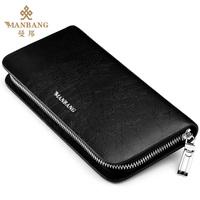 brand mens wallet men                 long   zipper                                   genuine leather wallets purse men clutch