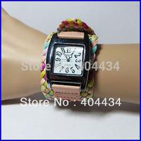 50pcs fashion women watch leather strap korea  rope braided wristwatch ladies knit band wide belt rainbow quartz watch 5 colors