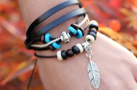 Free shipping Hot Sale 2014 feather charm bracelet black beads leather wrap bracelet women for jewelry wholesale 12pc/lot