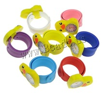 Free shipping!!!Silicone Slap Watch,Tibetan Jewelry, with zinc alloy dial, Duck, platinum color plated, for children