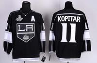 2013 Los Angeles Kings 11#  Anze Kopitar Black Ice Hockey Jersey Embroidery logos Cheap LA Hockey jersey Free Shipping