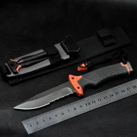 2pcs/lot Bear Fixed blade knife Survivors outdoor Pocket Knives Ultimate Survival Knife Survival Knife 59HRC Saw Half