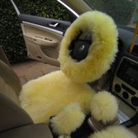Pure wool steering wheel cover macrotrichia slams handbrake cover gear sets piece set pure wool fur one piece