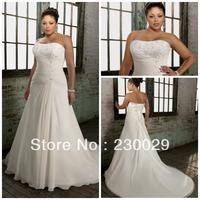 Free shipping Hot Sale Elegant White Chiffon With Appliques Pleats Beads A-line Court Train Plus Size Wedding Dress BP14018