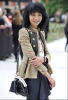 2013 autumn and winter slim waist slim short trench zipper outerwear elegant