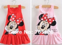 Free Shipping Wholesale 2014 Summer Clothing  Cartoon Children Girls Dress Kids Dress 5pcs/lot