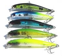 Fishing Hook Plastic Minnow Lures Sabiki Bass Crankbaits Tackle Equipment Wholesale Lot 5pcs 9.0cm/3.54inch/7.5g Free shipping