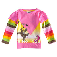 FREE SHIPPING F3099#2014 new hot fashion nova kids brand baby boys children clothing cotton spring long t shirt for baby girls