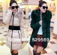 Free Shipping!2014 New Belt Hooded Duck Down Winter Jacket Puffer Long Parka Women's Long Fur Dollar Down Coat Outwear