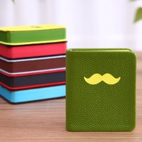 2014 Moustache design leather notebook 128 copies note book notepad 10X9*2cm small size free shipping