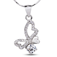 GNX0284 Fashion Jewelry 925 Sterling silver CZ Pendant butterfly 25*13mm for women, Free shipping wholesale Box chain Necklace