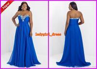 Wholesale - Fashion Plus size Sweetheart A line Crystal Royal Blue Chiffon Blush too Prom Dresses 9717W Floor Length Backless Fo