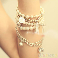 Womens Unique Jewelry Gold Metal Pearl Multilayer Pendant bracelets & bangles 06IZ